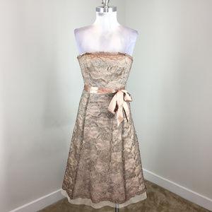 BCBGMaxAzria Xs 2 Gold Taupe Lace Midi Dress